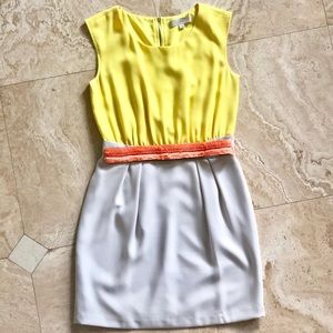 Loft two toned dress with sequins coral belt